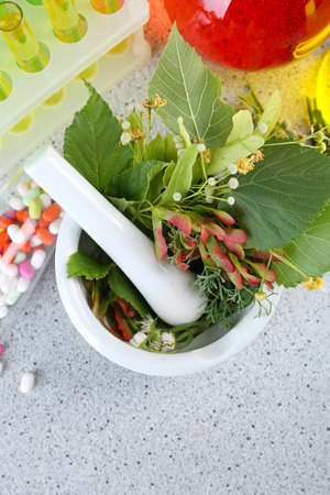Herbs in mortar, test tubes and pills,  on table, on light background 스톡 콘텐츠