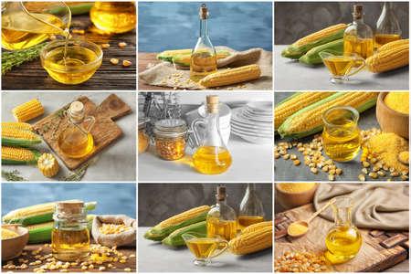 Collage with corn oil in different glassware
