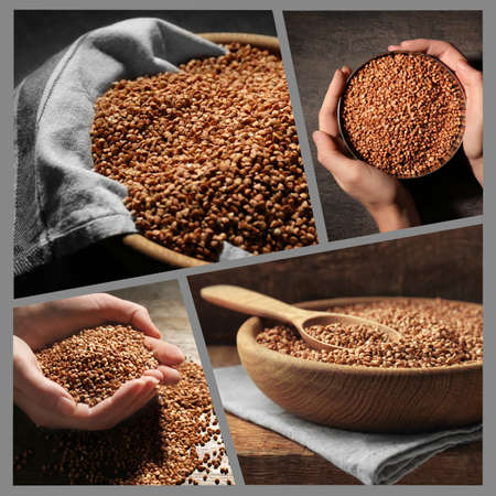 Collage with raw buckwheat Stock Photo