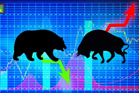 Confrontation between bull and bear as symbols of financial market with charts on background. Concept of stock trading