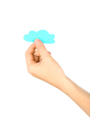 Hand holding paper, isolated on white. Cloud computing concept. Stock Photo