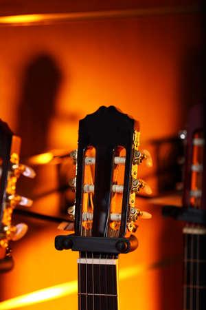 Guitars in music store Standard-Bild
