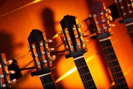 Guitars in music store Stock Photo