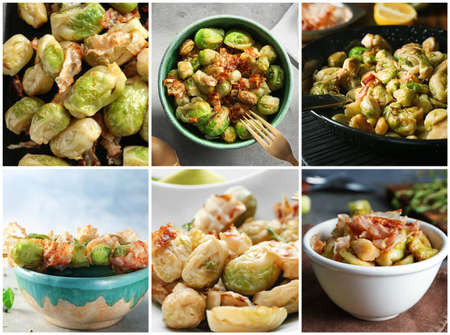 Collage with Brussel sprouts and bacon