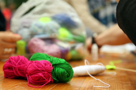 Yarn for knitted beautiful mandala on table close up Stock Photo