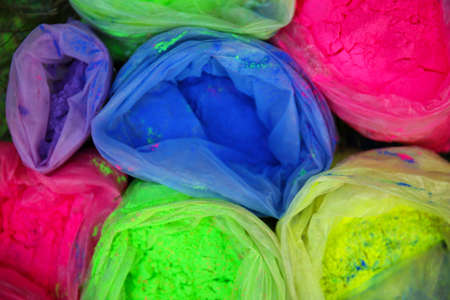 Bags with Indian dyes on Holi color festival 스톡 콘텐츠