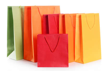 Paper shopping bags isolated on white Stock Photo