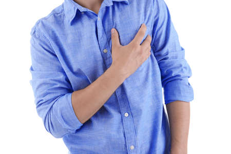 Man having chest pain - heart attack. On white background