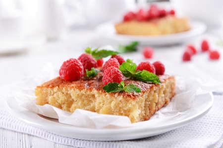 Fresh pie with raspberry