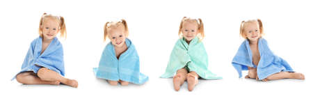 Collage with cute little girl and towels on white background Stock Photo