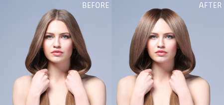 Beautiful young woman before and after procedure of hair extension in professional salon on color background 免版税图像 - 101883095