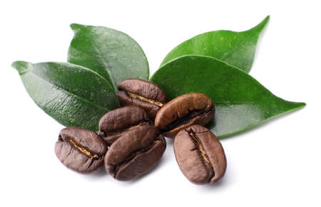Coffee beans with leaves isolated on white Stock Photo
