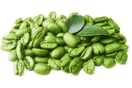 Coffee beans with leaves isolated on white Archivio Fotografico