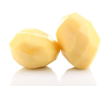 Raw peeled potatoes isolated on white
