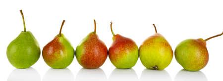 Ripe tasty pears isolated on white Foto de archivo