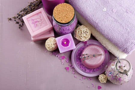 Spa treatments on colorful background. Lavender spa concept Stock Photo