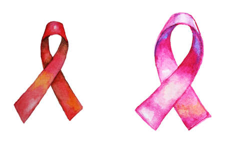 Hand painted breast cancer ribbons isolated on white