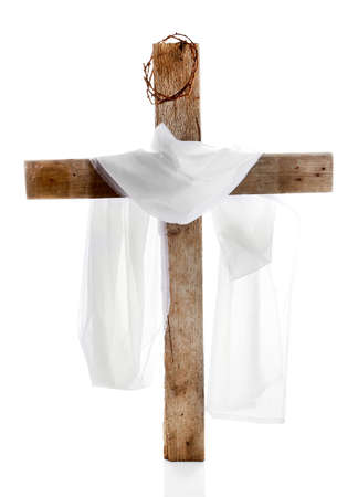 Cross with crown of thorns and cloth, isolated on white