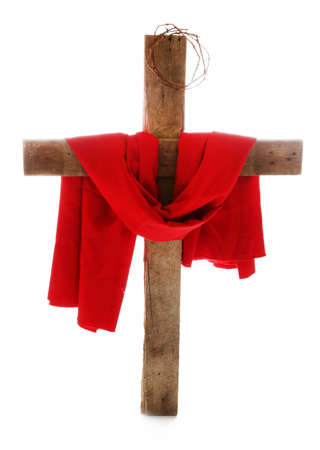 Cross with crown of thorns and red cloth, isolated on white Stock Photo