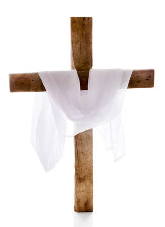 Cross with cloth, isolated on white Stock Photo