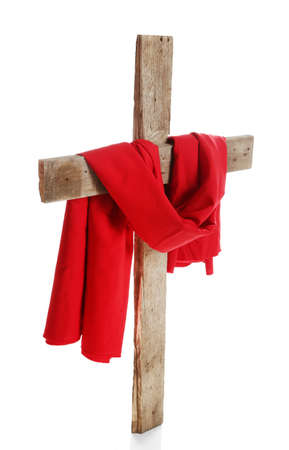 Cross with red cloth, isolated on white Stock Photo