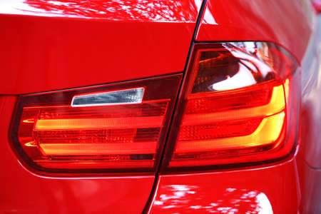 Taillights of red car Stock Photo