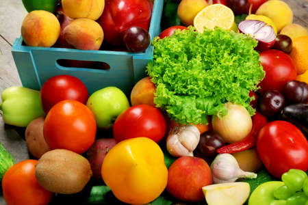 Heap of fresh fruits and vegetables close up Stock Photo