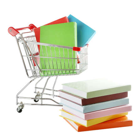 Shopping cart with books isolated on white Stock Photo