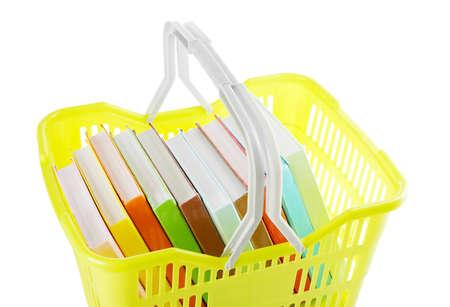 Shopping basket with books isolated on white Stock Photo