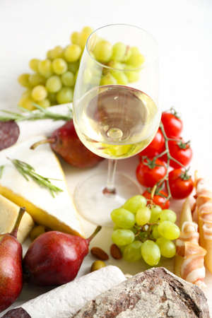 Still life with various types of Italian food and wine Stock Photo