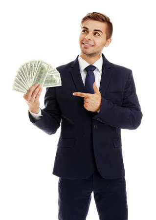 Elegant man in suit holding money isolated on white