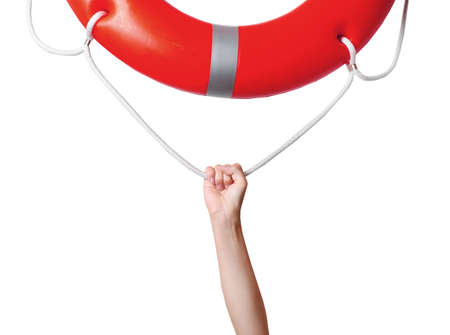 Human hand reaching for life preserver, isolated on white