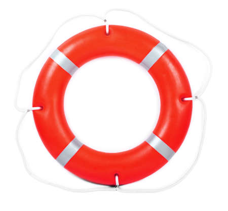 A life buoy for safety at sea, isolated on white Stock Photo