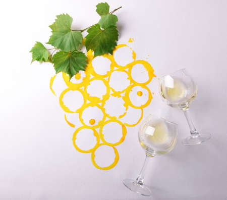 Wine glasses on picture painted with wine Stock Photo