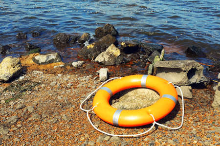 A life buoy on the ground