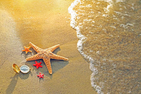 Compass with sea stars on sand beach background