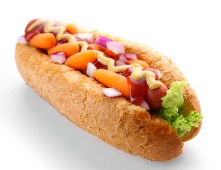 Fresh hot dog isolated on white