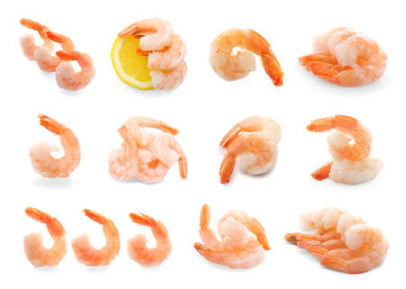 Set of boiled shrimps on white background