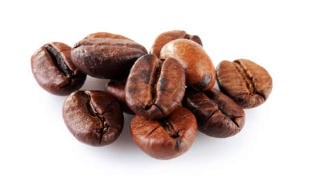 Brown coffee beans isolated on white Stock Photo