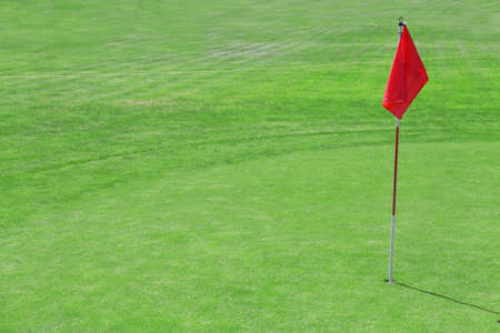 Green golf course with red flag, close up Imagens