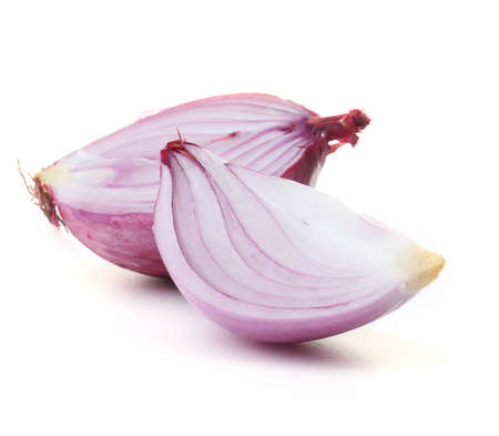 Sliced red onions isolated on white Stock Photo