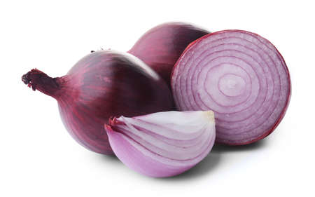 Red sliced onions isolated on white Stock Photo