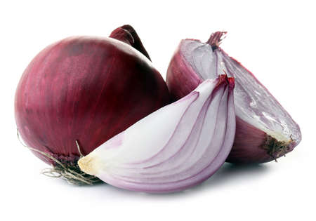 Red sliced onions isolated on white Stok Fotoğraf
