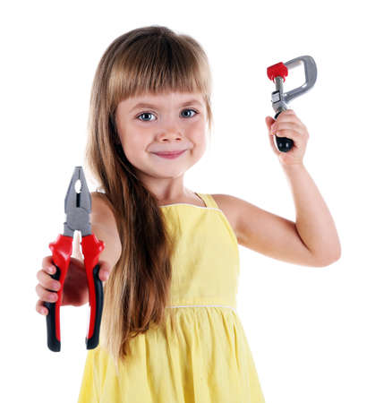 Little girl with toy tools isolated on white Stock Photo