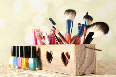 Make up set on bright background Stock Photo