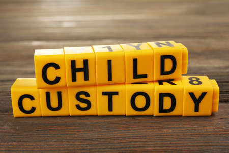Blocks with letters regarding child-custody and divorce concept Stock Photo