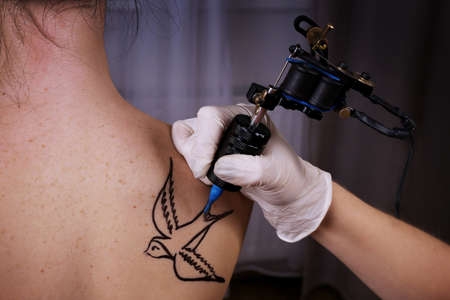 Tattooist draws swallow on the womans right shoulder-blade, close up