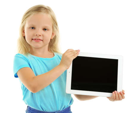 Beautiful little girl with digital tablet, isolated on white Stock Photo