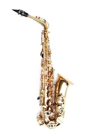 Golden saxophone isolated on white background Stock Photo