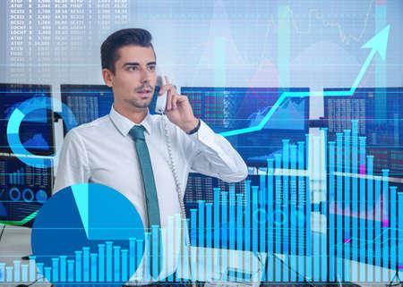 Stock exchange broker working in office